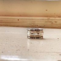 Silver and Gold Stacking Rings - 9 Ct Gold and Sterling Silver rings