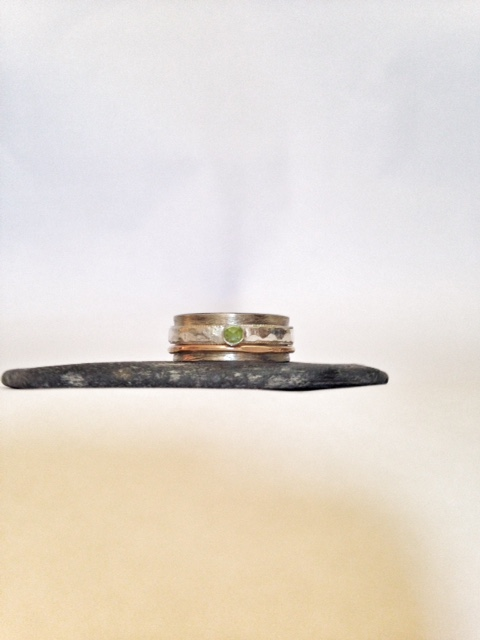 Peridot Ring - Mixed Metal ring with Peridot stone