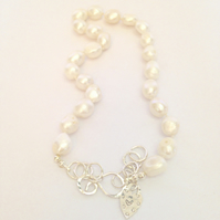 Large Pearl Necklace - Silver and Pearl Necklace