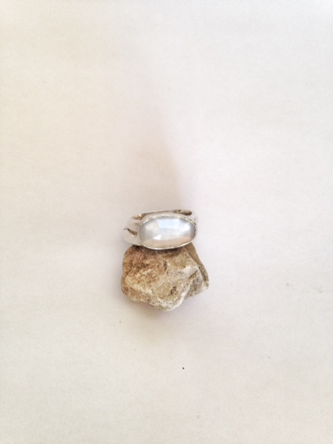 Moonstone Ring - Artisan Ring - Free Form Moonstone Silver Ring