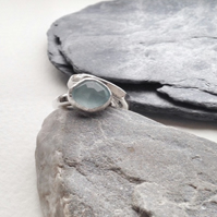 Aquamarine Ring - Faceted Aquamarine Cabochon with Silver
