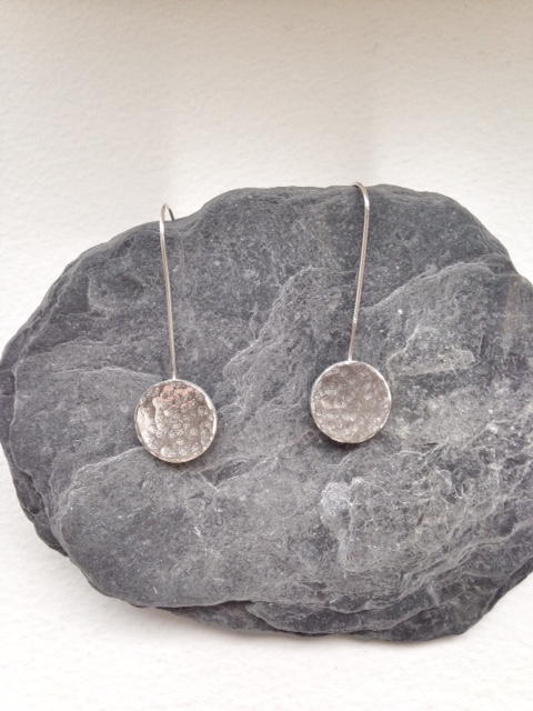 Silver Disk Earrings on Long Ear Wires - Long Silver Earrings