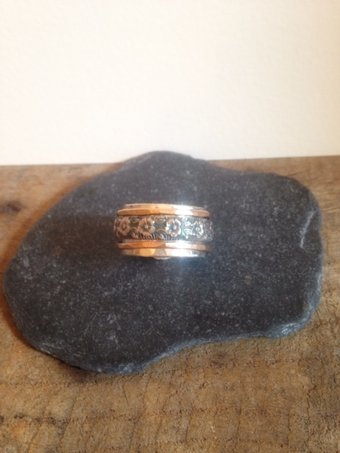 Spinner Ring - Wide Silver Ring - Mixed Metal Ring