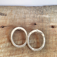 Silver Hoop Earrings - Handmade Silver  Earrings