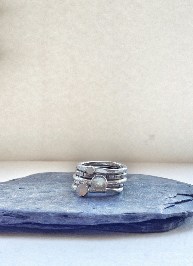 Stacking Rings - Silver Rings - Opal Ring