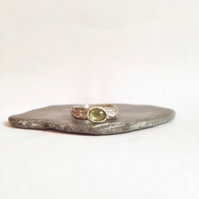 Peridot Ring - Silver Peridot Gemstone Ring