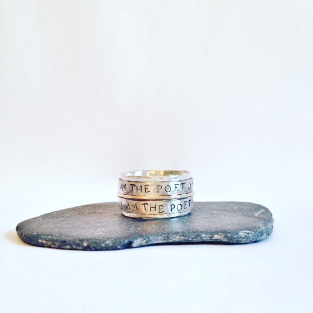 Poetry Ring - Wide Band Ring with Walt Whitman Quote - Personalised Ring