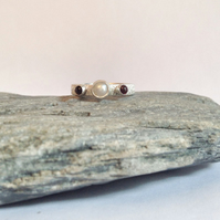 Pearl Ring - Pearl and Garnet Artisan Ring