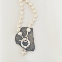 Large Pearl Necklace - Handmade Pearl Necklace with Silver Clasp