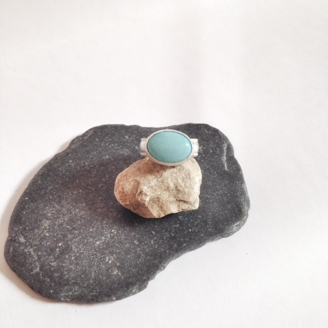 Turquoise Ring - Large Turquoise and Sterling Silver Ring