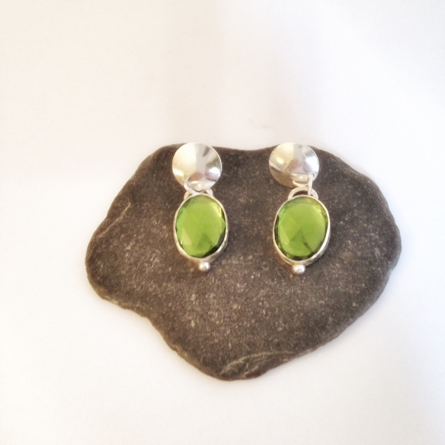 Large Emerald Green and Sterling Silver Earrings - Handmade Silver Earrings