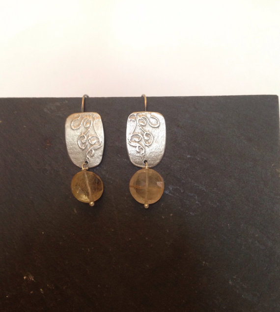 Silver Earrings - Rutilated Quartz Silver Post Earrings