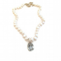 Pearl Necklace with Tree of Life Charm