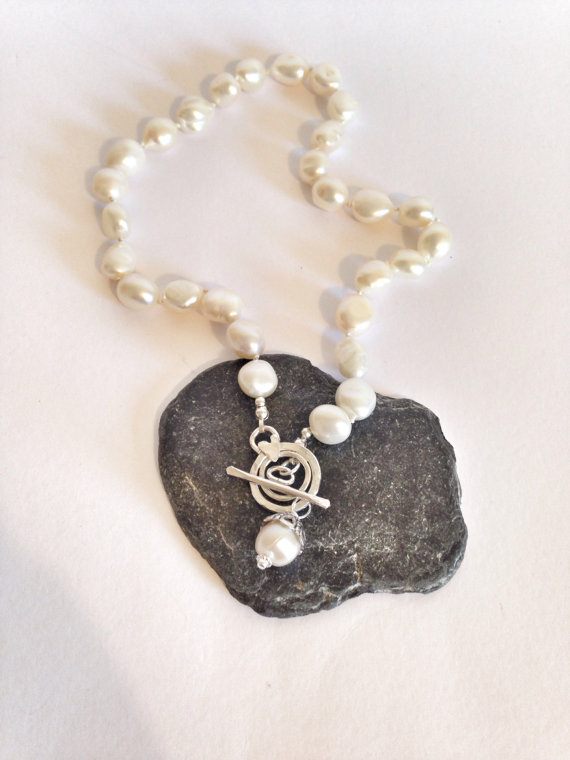 Large Pearl Necklace - Pearl and Sterling Silver Necklace