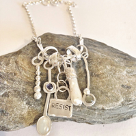 Silver Charm Necklace - Artisan Necklace