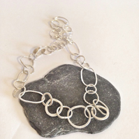 Sterling Silver Necklace - Hammered Link Silver Necklace