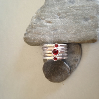 Stacking Rings - Garnet Ring - Silver Ring