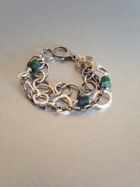 Multi Strand Silver Bracelet with Roman Glass Beads