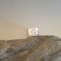 Wide Band Ring-Rainbow Moonstone Ring - Large Stone Ring