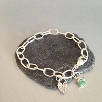 Silver Link Bracelet - Chunky Silver Bracelet with Emerald and Heart Charm
