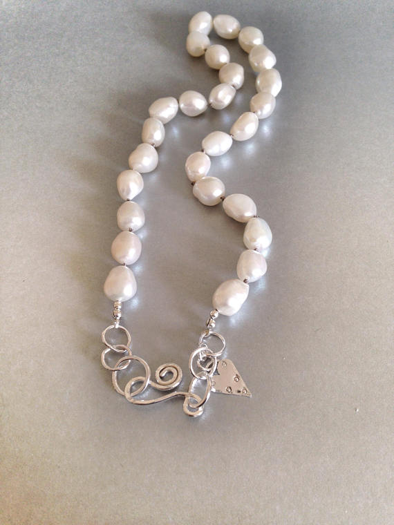 Pearl Necklace - Large Pearl Necklace with Silver Clasp