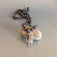Long Pearl Necklace - Cacoxenite Pendant