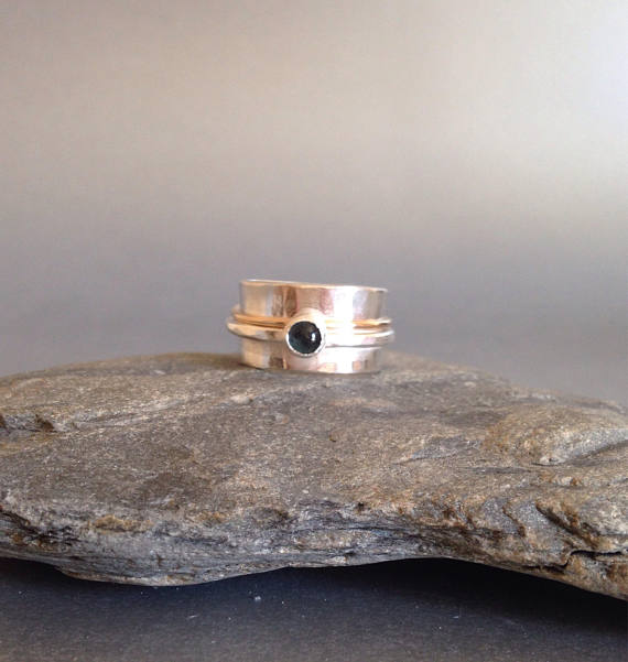 Wide Silver Ring  - Topaz Ring - Mixed Metal Ring