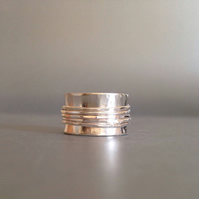 Spinner Ring - Wide Silver Ring with Silver Spinning Bands - Meditation Ring