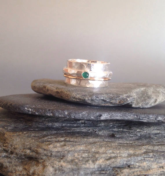 Spinner Ring - Emerald Ring - Wide Silver Ring