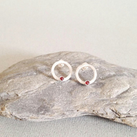 Garnet Earrings - Silver Circle Earrings - Stud Earrings