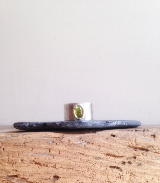 Peridot Ring - Wide Band Ring - Silver and Peridot Wide Ring