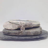 Silver Bangle with Charm