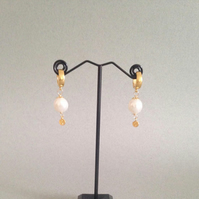 Gold and Pearl Earrings - European Ear Hoops with Large Pearl