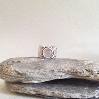 Large Silver Band Ring- Wide Silver Band Ring - Pink Stone Ring