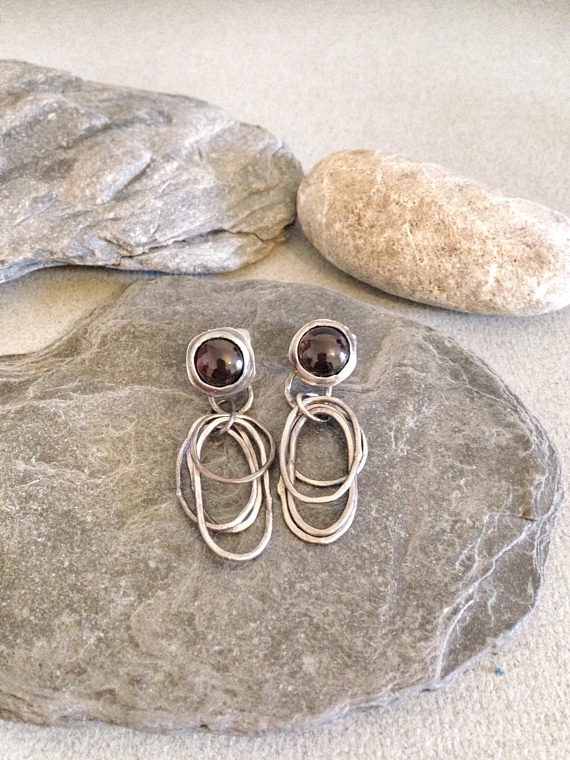 Silver Earrings - Silver Hoop Earrings - Garnet Earrings