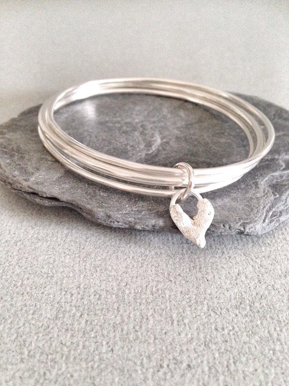Silver Bangles with Solid Silver Heart - Silver Bangles