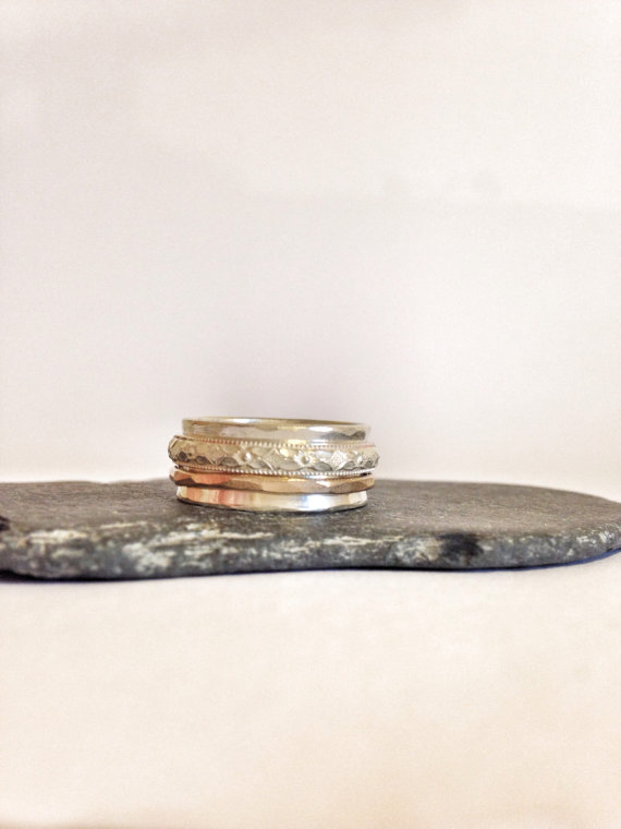 Spinner Ring - Mixed Metal Ring - Handmade Silver Ring