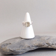 Light Green Amethyst Ring - Large Stone Ring - Statement Ring