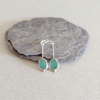 Turquoise Earrings - Silver Earrings - Handmade Artisan Earrings - OOAK