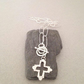 Silver Link Necklace - Cross Necklace - Charm Necklace - Toggle Clasp Necklace