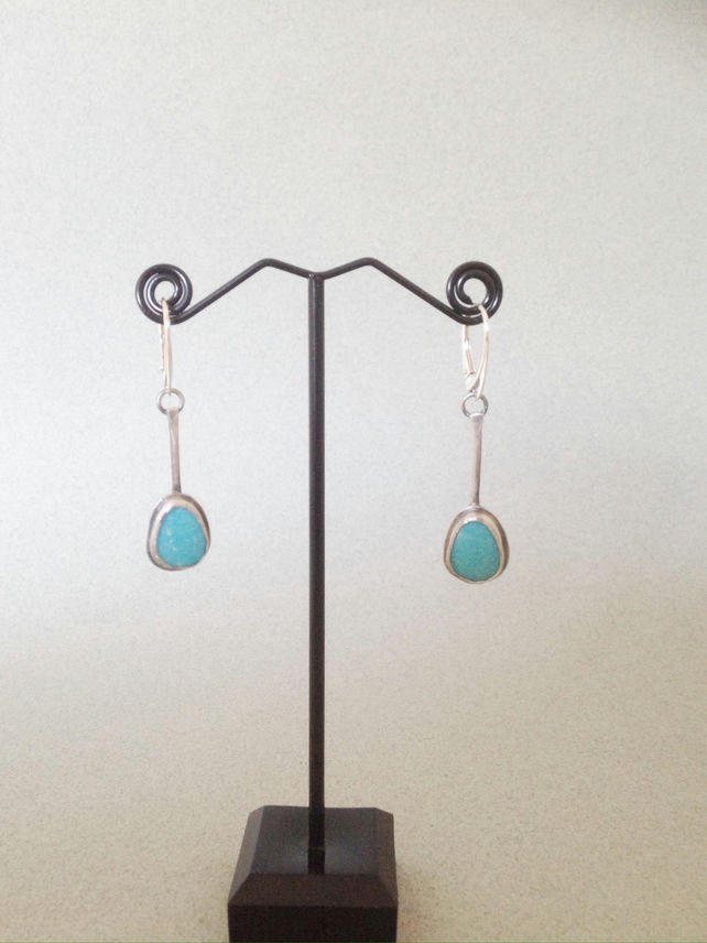 Turquoise Earrings - Silver Earrings - Artisan Turquoise Earrings