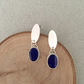 Lapis Lazuli Earrings - Silver Earrings -- Artisan Earrings Lapis and Silver