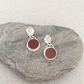 Silver Earrings - Red Stone Earrings - Artisan Earrings