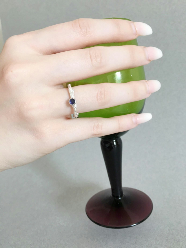 Silver Ring - Twig Ring - Iolite Ring - Nature Jewellery