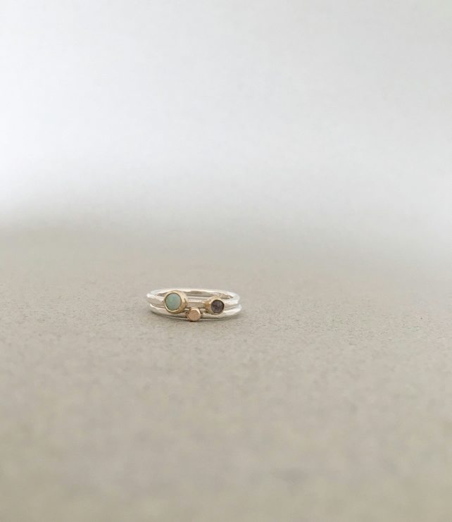 Opal Ring - Opal and Iolite Stacking Rings - Gold and Silver Rings - Silver Ring