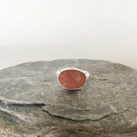 Statement Ring - Strawberry Quartz Ring - Pink Stone Ring - Silver Ring