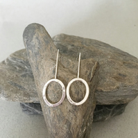 Silver Earrings - Long Silver Earrings - Circle Earrings