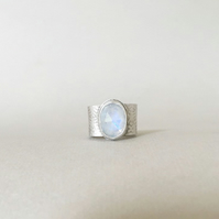 Rainbow Moonstone Ring - Wide Band Ring - Statement Ring