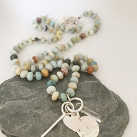 Long Hand Knotted Bead Necklace - Charm Necklace - Long Necklace