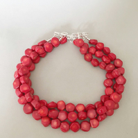 Red Coral Necklace - Triple Strand Necklace - Chunky Red Necklace